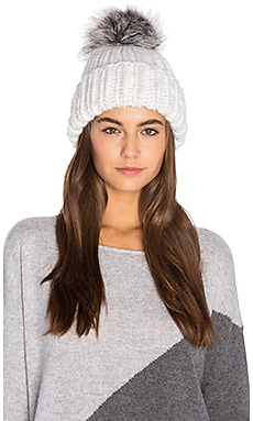 Rain Artic Fox Fur Beanie in Winter White