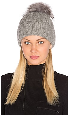Andrea Beanie with Arctic Fox Fur Pom-Pom in Light Grey