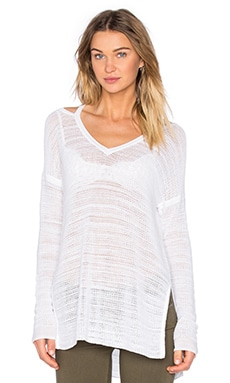 Playa Open Shoulder Pullover in Optic White