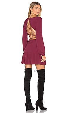 x REVOLVE Lace Up Dress in Wine