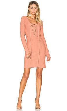 x KNITZ Simone Lace Front Sweater Dress in Pink