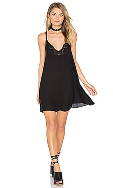 Kendall Trapeze Slip Dress in Black