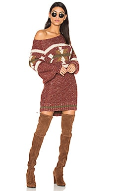 Northern Lights Sweater Mini Dress in Red Combo