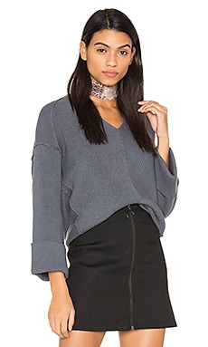 La Brea V Neck Sweater in Slate