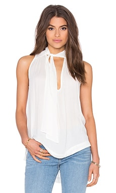 Sleeveless Tie Front Top in Ivory