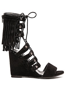 Solstice Fringe Wedge in Black