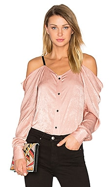 Satin Off The Shoulder Top in Blush