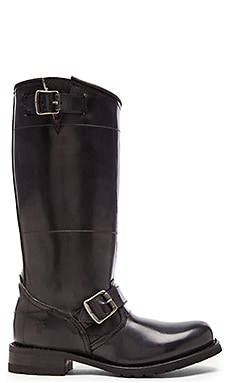 Engineer Rabbit Shearling Tall Boot in Black