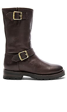 Natalie Mid Engineer Shearling Lined Boot in Dark Brown