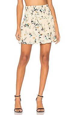 Marietta Georgette Mini Skirt in Biscotti Leaves