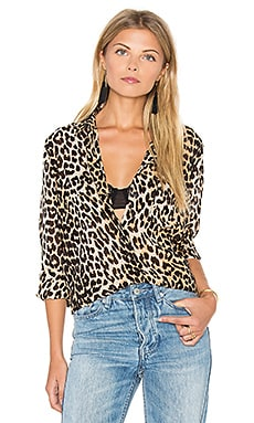 Long Sleeve Button Up Top in Leopard