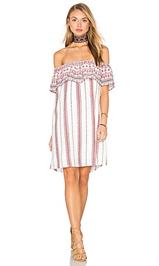 Stripe Mini Dress in White Tribal Border