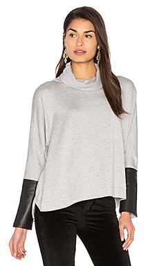 Clara Oversized Sweatshirt in Light Grey With Black Leather
