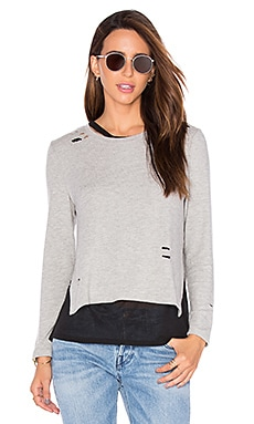 Eliza Holes Long Sleeve Top in Grey & Black