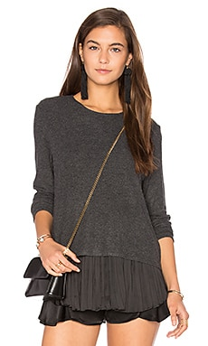 Wilma Pleats Top in Charcoal & Black