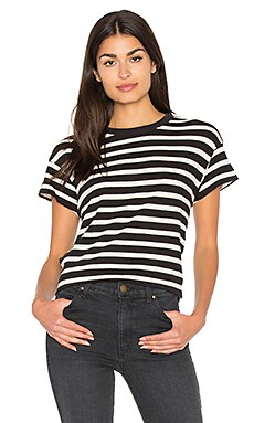 The Boxy Crew Tee in Black & White Stripe