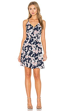 Serina Print Blocked Dress in Navy