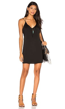 Halter Deep V Back Dress in Black