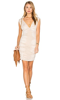 Deep V Shirred Mini Dress in Brinkley Almond