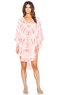 Deep V Back Neck Tie Poncho in Melon