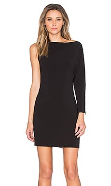 Asymmetrical Boatneck Mini Dress in Black