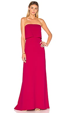 Strapless Tiered Gown in Cerise
