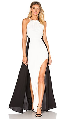 Halter Colorblock Gown in Chalk & Black