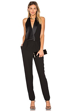 Halter Neck Tuxedo Jumpsuit in Black