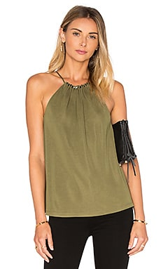 Beaded Shirred Tank in Willow