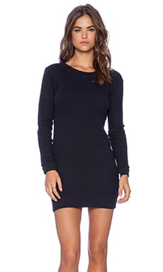 Birds Eye French Terry Long Fashion Sweater Dress in Neptune