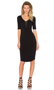 Jersey Lace Up Dress in Black