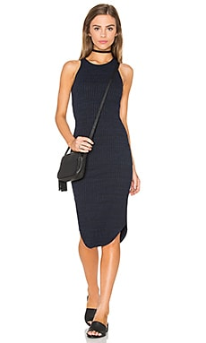 Stretch Rib Midi Dress in Navy