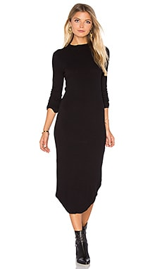 Mock Neck Long Sleeve Dress in Black