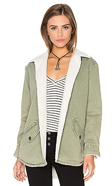 Vegan Shearling Lined Shirt Jacket in Olive