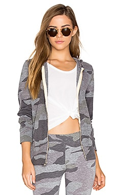 Oversized Camo Zip Up Hoodie in Dark Heather