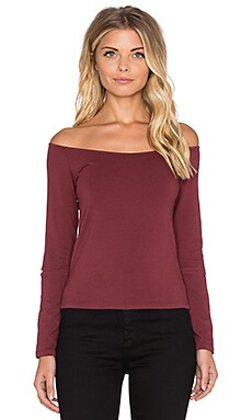 Retro Long Sleeve Off the Shoulder Top in Maroon