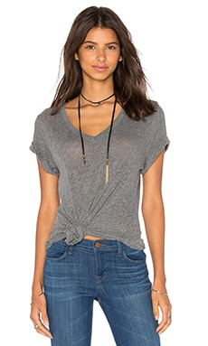 Layer V-Neck Tee in Dusty Blue