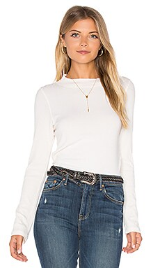 Mock Neck Rib Long Sleeve in Ivory