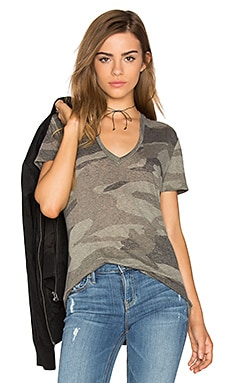 Oversized Camo V Neck Tee in Olive