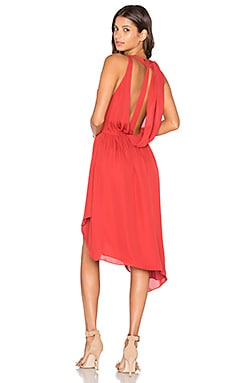 Sleeveless Handkerchief Wrap Mini Dress in Red Rose