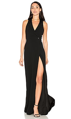 Tux Wrap Gown in Black