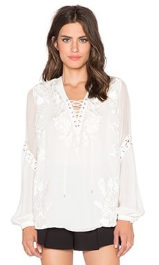 Lace Up Front Blouse in Swan