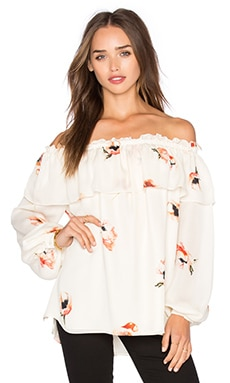 Double Layer Ruffle Cold Shoulder Blouse in Hounds Of Love