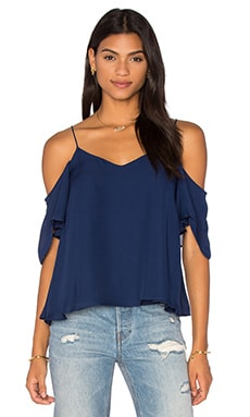 Button Back Cold Shoulder Blouse in Midnight