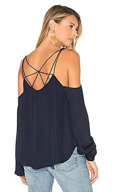 Crossroads Cold Shoulder Blouse in Midnight
