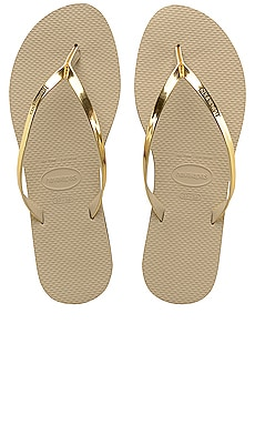 You Metallic Flip Flop in Sand Grey & Light Golden