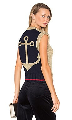 Knit Anchor Sleeveless Sweater in Pale Gold