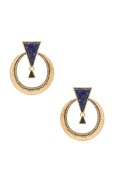 House of Harlow Hymn To Selene Statement Earring in Lapis & Malachite