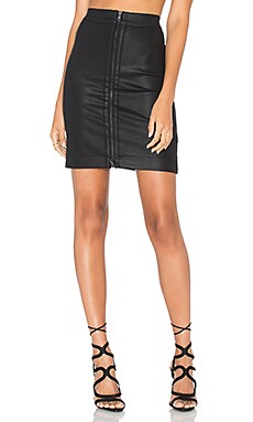 Coated Zip Front Skirt in Black