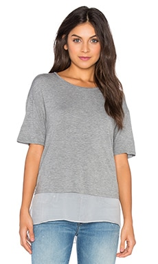 Silk Lined Tee in Light Heather Grey